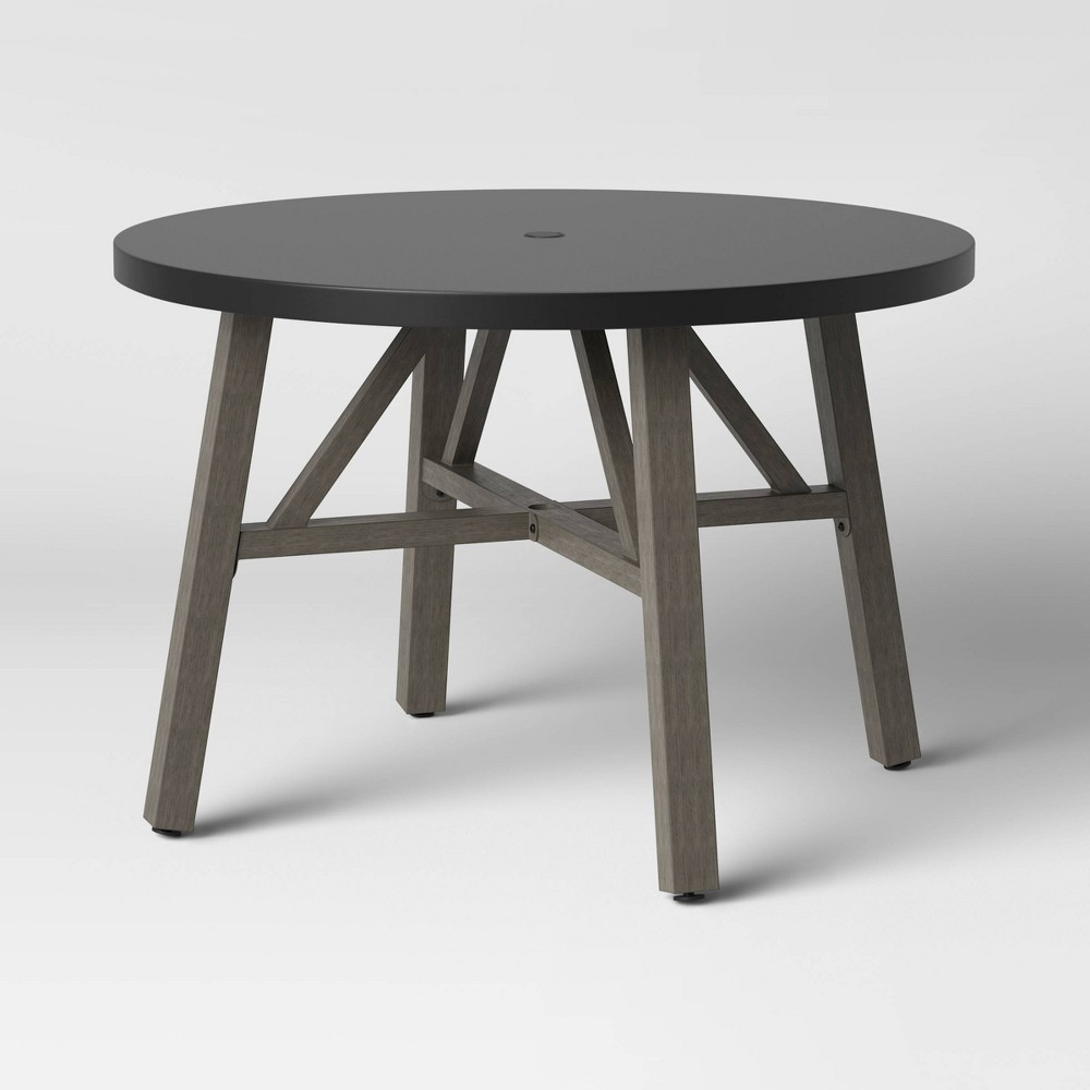 Promos Concrete & Faux Wood 4 Person Round Patio Dining Table - Smith & Hawken™