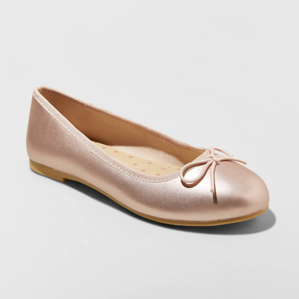 Image of Girls' American Girl Stacy Ballet Flats - Cat & Jack Rose Gold 13, Girl's, Pink Gold