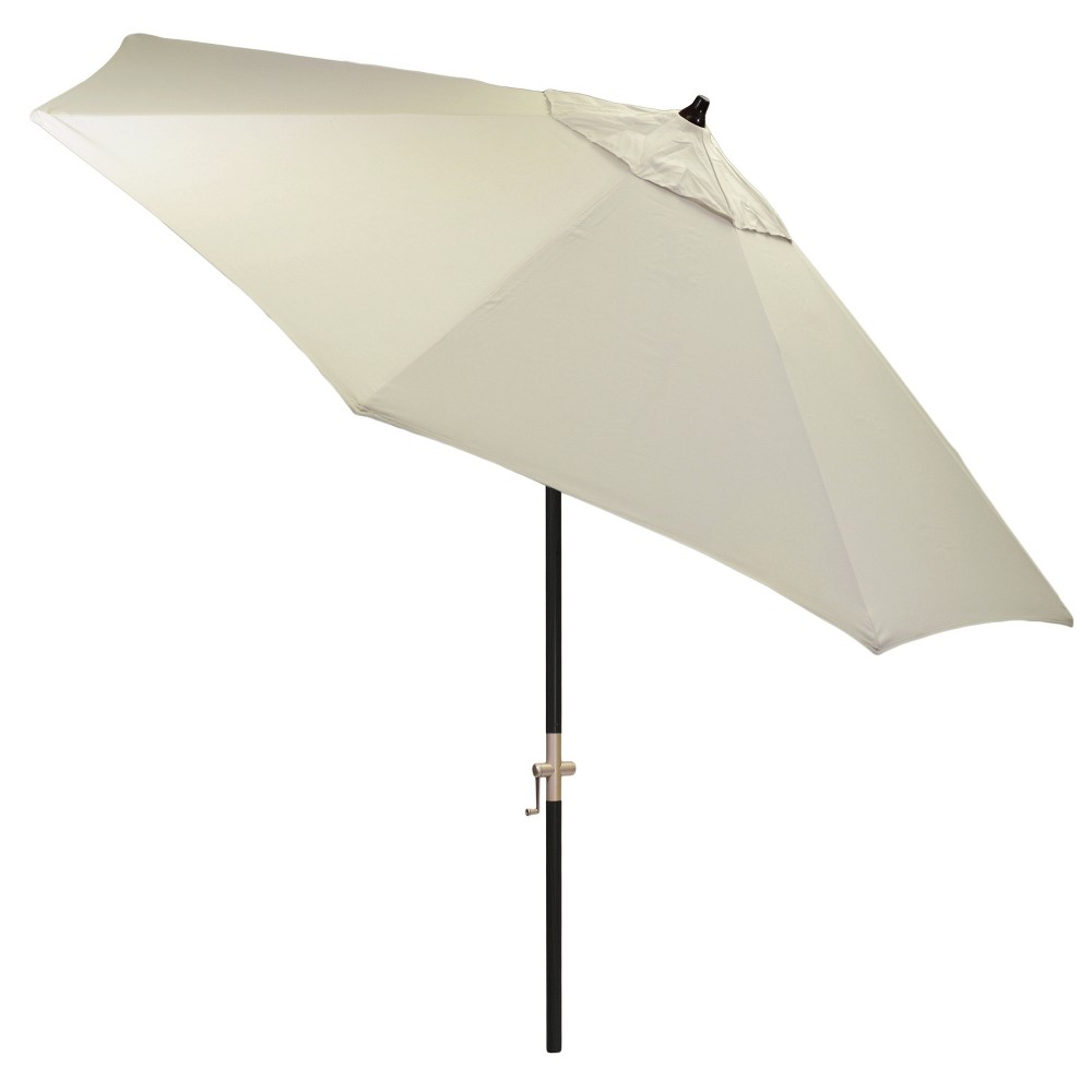 9' Round Sunbrella Umbrella - Canvas - Black Pole - Smith & Hawken