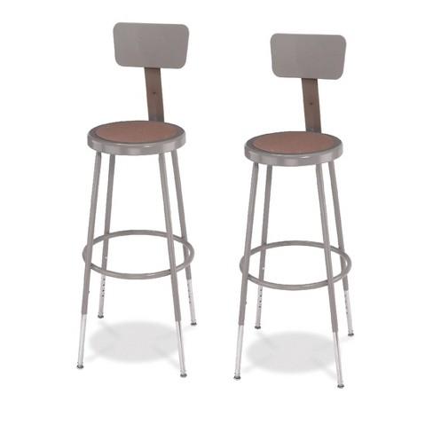 Wondrous 2Pk Adjustable Heavy Duty Steel Stool With Backrest Gray Hampton Collection Ibusinesslaw Wood Chair Design Ideas Ibusinesslaworg