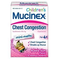 Children's Mucinex Chest Congestion Expectorant Mini-Melts Powder - Bubblegum - 12ct