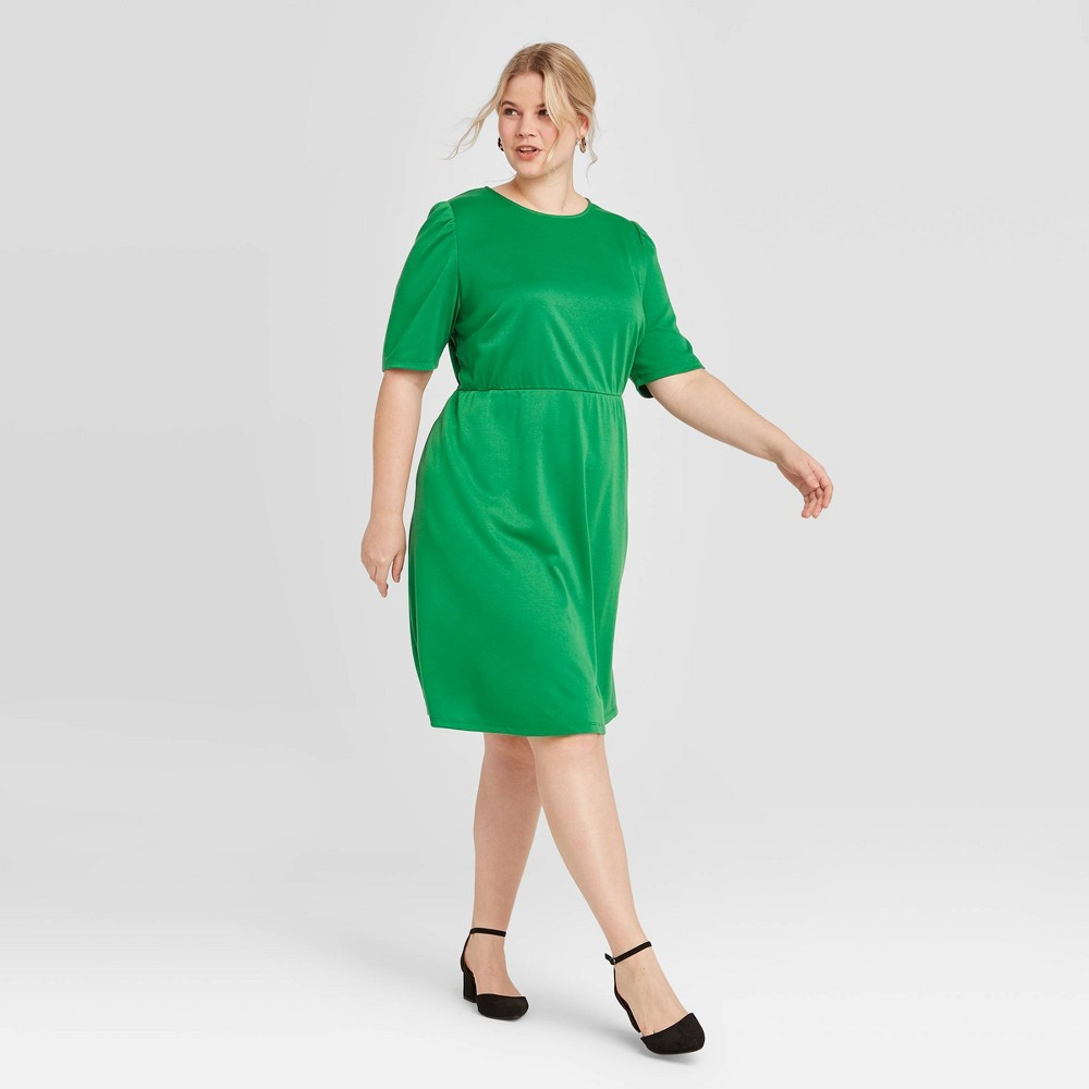 Women's Plus Size Short Sleeve Dress - Who What Wear Green 4X, Women's, Size: 4XL was $32.99 now $23.09 (30.0% off)