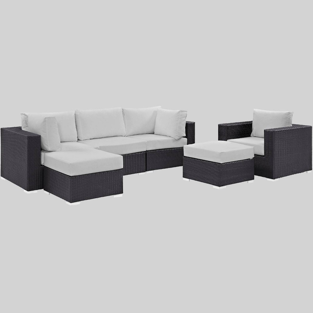 Convene 6pc Outdoor Patio Sectional Set - White - Modway