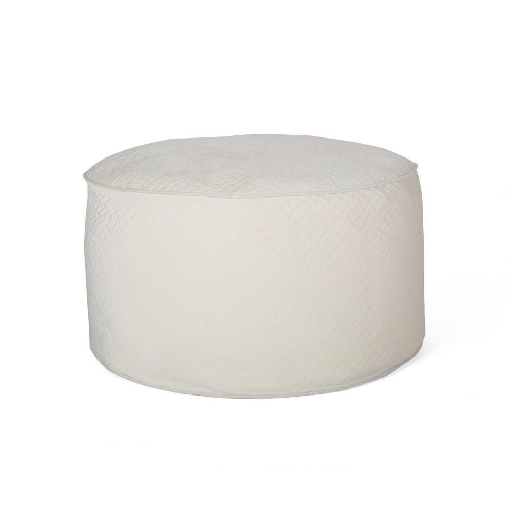 Image of 4'' Arnside Glam Velvet Quilt Patterned Beanbag Ivory - Christopher Knight Home