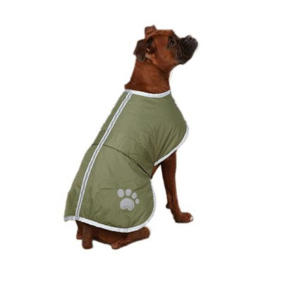Zack & Zoey UM210 20 43 Large Polyester Noreaster Dog Coat Reversible, Adjustable, and Waterproof Blanket Cover with Reflective Stripe Design, Green