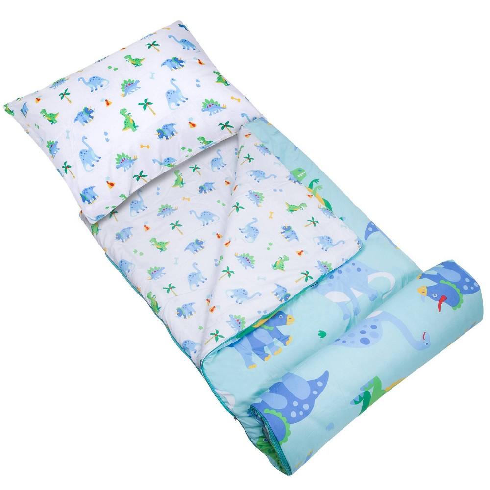 Wildkin Kids 39 Dinosaur Land Microfiber 60 Degrees Fahrenheit Sleeping Bag With Pillowcase Blue