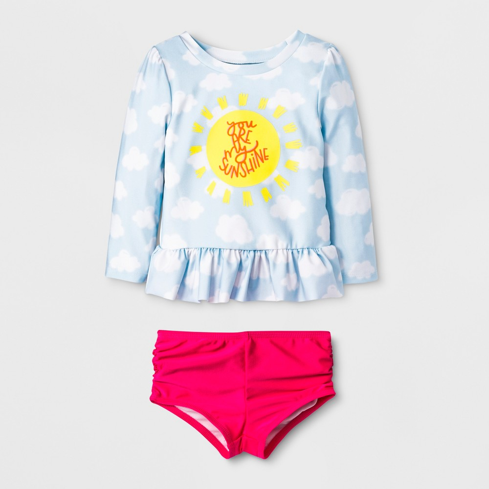 Baby Girls' 2pc Rash Guard Set - Cat & Jack Blue 9M