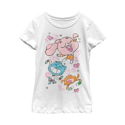 Girl's The Amazing World of Gumball Character Doodle Print T-Shirt