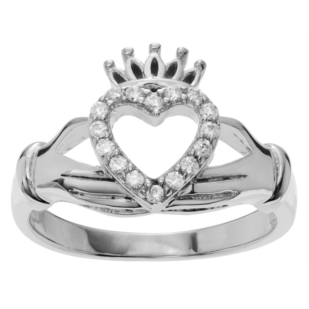 1/6 CT. T.W. Round-cut Cubic Zirconia Accent Claddagh Pave Set Ring in Sterling Silver - Silver, 6, Girl's