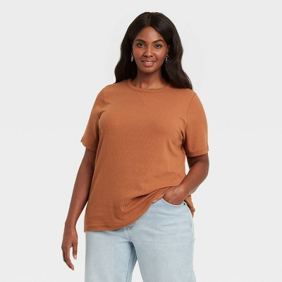 Women's Plus Size Ribbed T-Shirt - Ava & Viv™