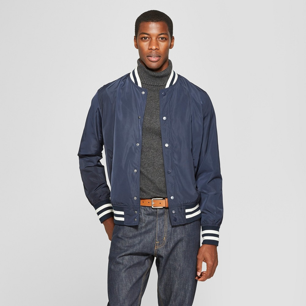 Men's Varsity Bomber Jacket - Goodfellow & Co Fighter Pilot Blue L