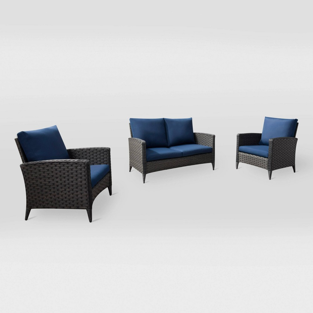 Parkview 3pc Loveseat Chair Patio Set - Navy (Blue) - CorLiving