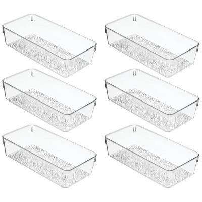 mDesign Plastic Bathroom Drawer Organizer Tray, 6 Pack - Clear