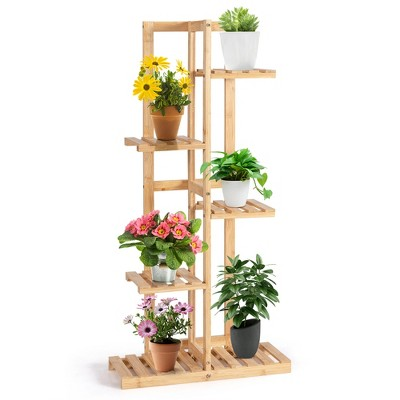 Costway 5 Tier 6 Potted Plant Stand Rack Bamboo Display Shelf for Patio Yard