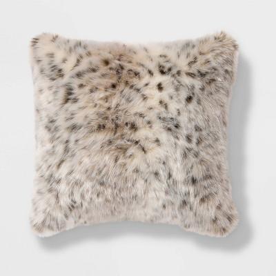 Square Faux Fur Decorative Throw Pillow Animal Print - Threshold™