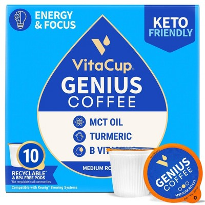 VitaCup Genius Coffee Pods w/KETO MCT Oil, Turmeric, & B Vitamins (Energy & Focus) Medium Roast - 10ct