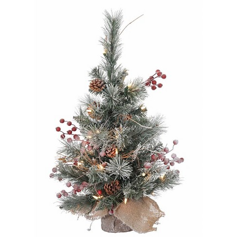 2ft Unlit Snow-Tipped Pine and Berry Artificial Christmas Tree in Burlap Base - image 1 of 2