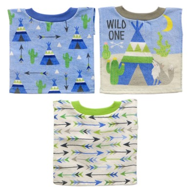 Neat Solutions 3pk Fiber Reactive Pull Over Cloth Baby Bib Set - Green