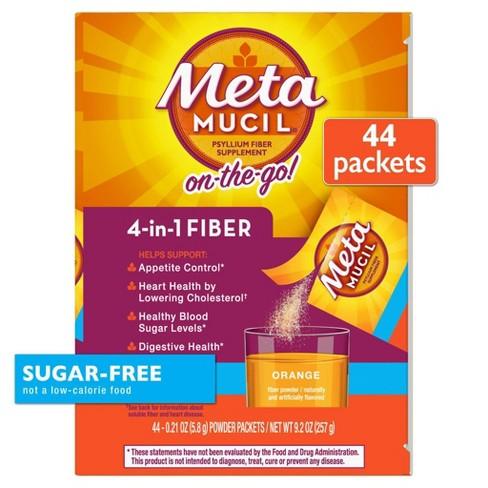 Metamucil Psyllium 4-in-1 Fiber Supplement Sugar Free - Orange - 44ct - image 1 of 4