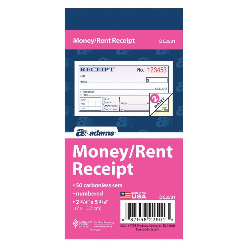Image of 50ct Adams Numbered Money/Rent Receipt Book