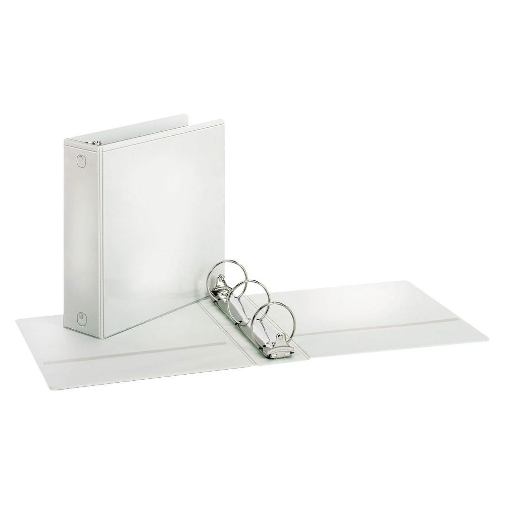 Cardinal Treated Binder ClearVue Locking Round Ring Binder, 3 Cap, 11 x 8 1/2, White