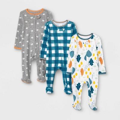 Baby Boys' 3pk Fall Sleep N' Play - Cloud Island™ Blue 3-6M