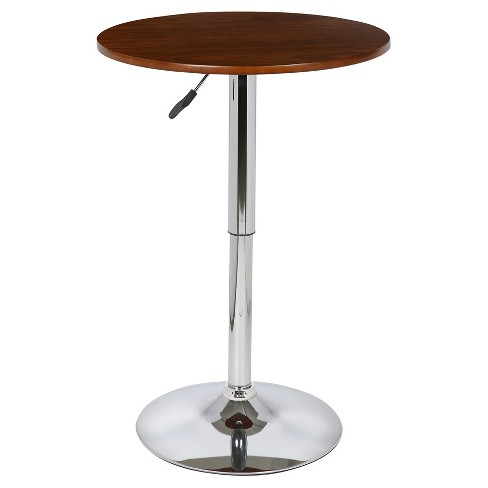 Bentley Adjustable Pub Table - Walnut with Chrome Finish - Armen Living - image 1 of 4