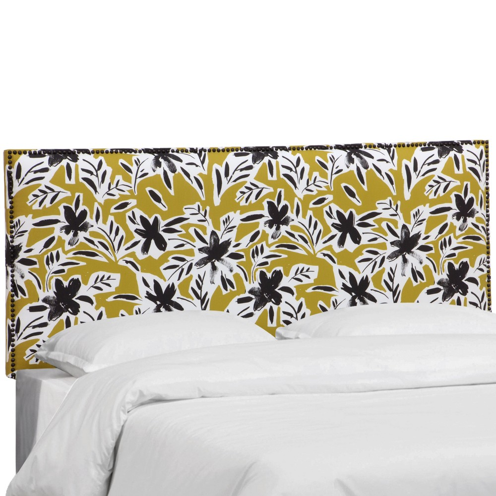 California King Bella Nail Button Border Headboard Ochre Floral with Black Nailbuttons - Cloth & Co., Floral Ochre