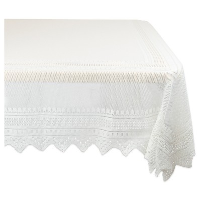 Design Imports 90 X52  Lace Tablecloth White