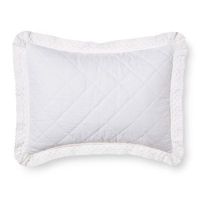 White Crochet Trim Linen Blend Pillow Sham (Standard)- Simply Shabby Chic®