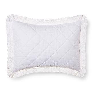 White Crochet Trim Linen Blend Pillow Sham (Standard) - Simply Shabby Chic®