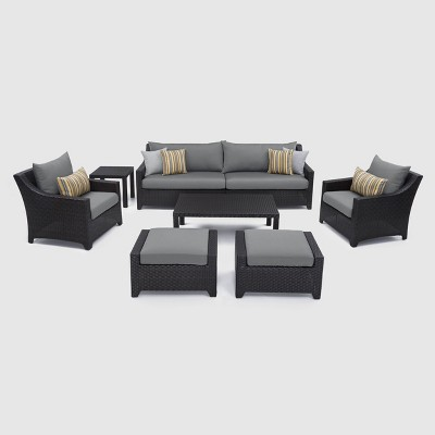 RST Brands Deco 8-piece Sofa and Club Chair Set - Charcoal Gray