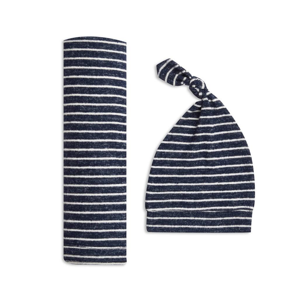 Image of Aden + Anais Snuggle Knit Swaddle Gift Set Navy Stripe