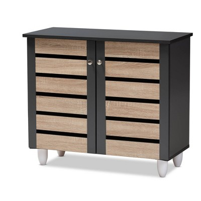 Gisela 2 - Door Shoe Storage Cabinet Dark Gray - Baxton Studio