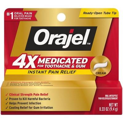 Orajel 4X Medicated For Toothache & Gum Cream - 0.33oz