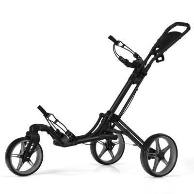 Goplus Folding Golf Push Cart W/Scoreboard Adjustable Handle Swivel Wheel Red\Blue\Grey\Green