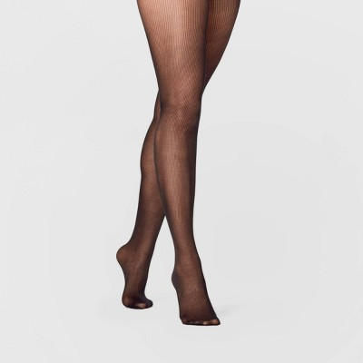 Women's Sheer Rib Tights - A New Day™ Black