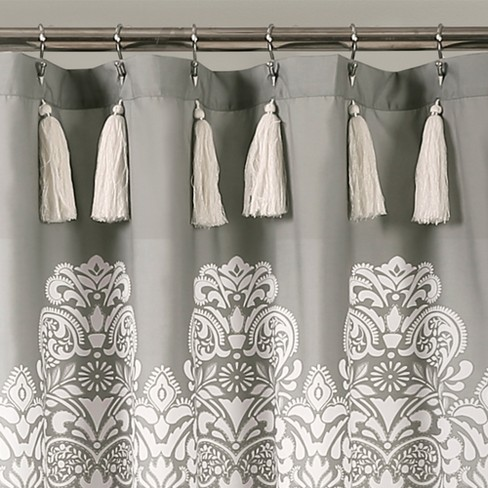 Boho Medallion Shower Curtain Gray