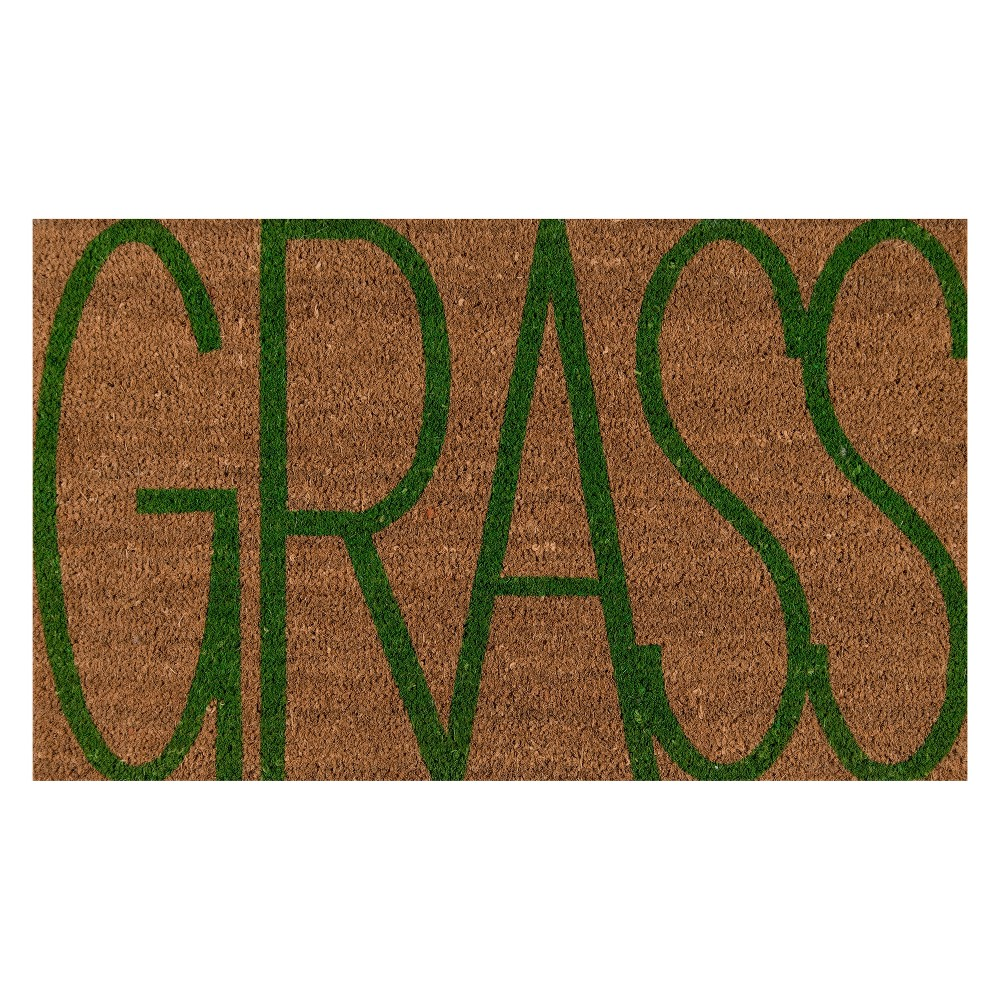 """Image of """"1'6""""""""x2'6"""""""" Quote Woven Door Mat Natural - Novogratz By Momeni, White Green"""""""