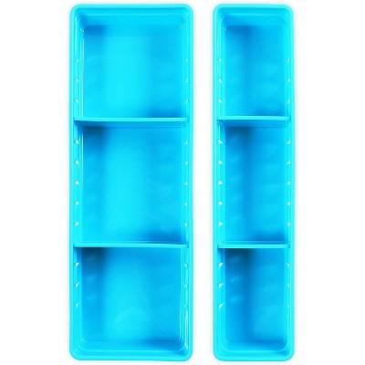 Okuna Outpost 4-Piece Set Blue Plastic Rectangle Drawer Organizer Bin Basket for Office Desk Storages