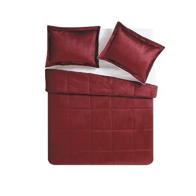 Queen Micro Mink Comforter Set Deep Red - VCNY Home