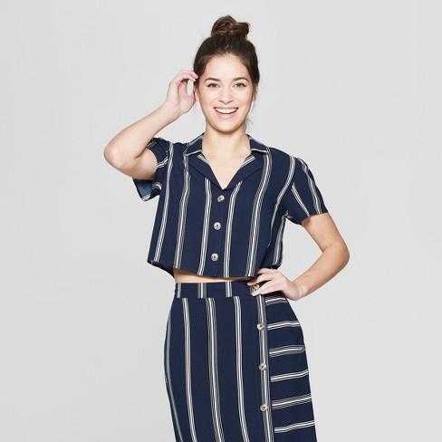 49052676 Women's Striped Short Sleeve Cropped Button-Down Shirt - Xhilaration™ Navy