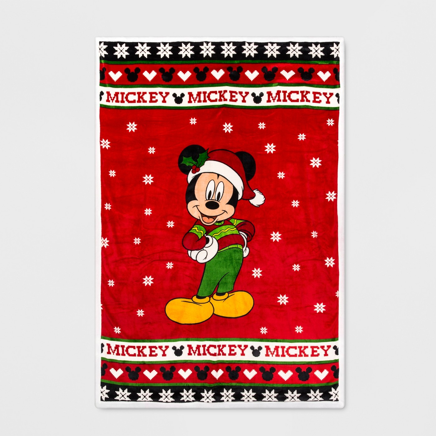Mickey Mouse & Friends Twin Ugly Sweater Blanket Red