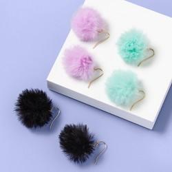 Girls' 3ct Faux Fur Pom Earrings - More Than Magic™