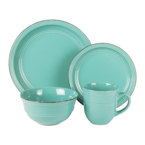 American Atelier 16pc Stoneware Madelyn Dinnerware Set Aqua - image 1 of 1