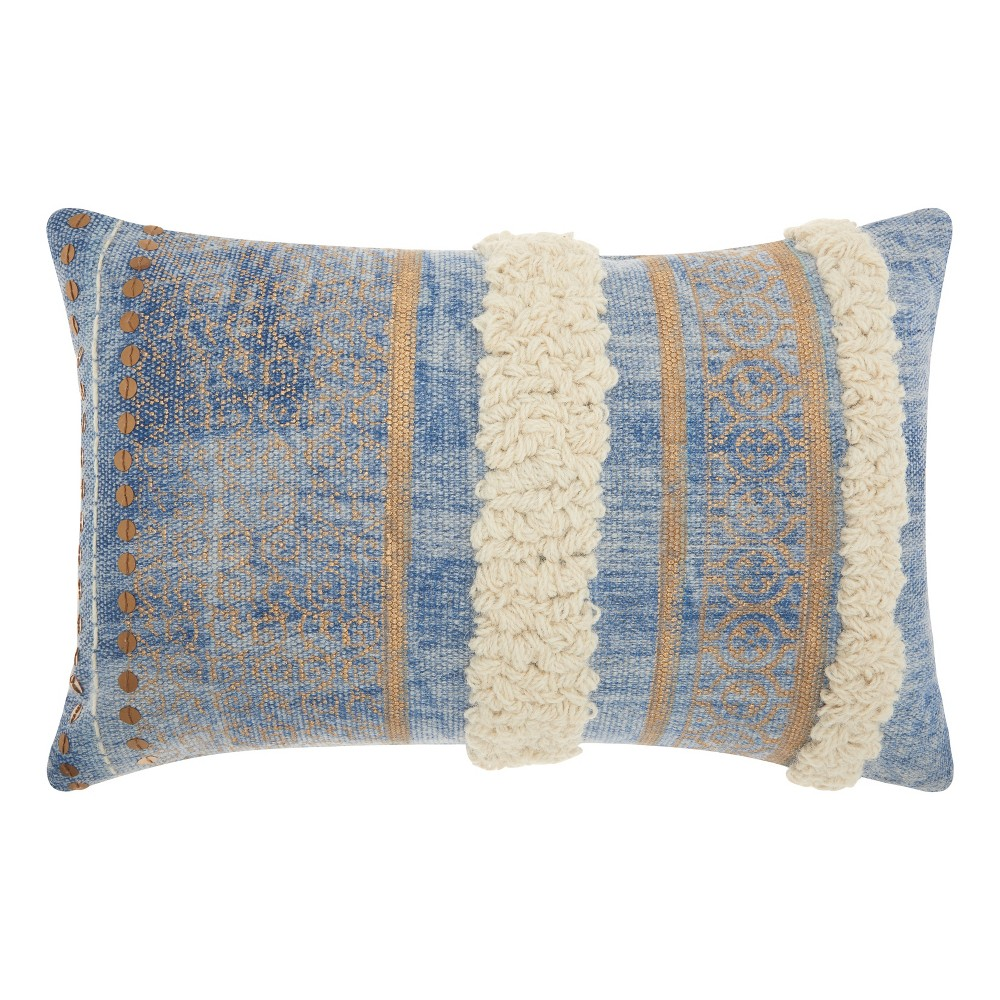Image of Blue Shapes Throw Pillow - Mina Victory