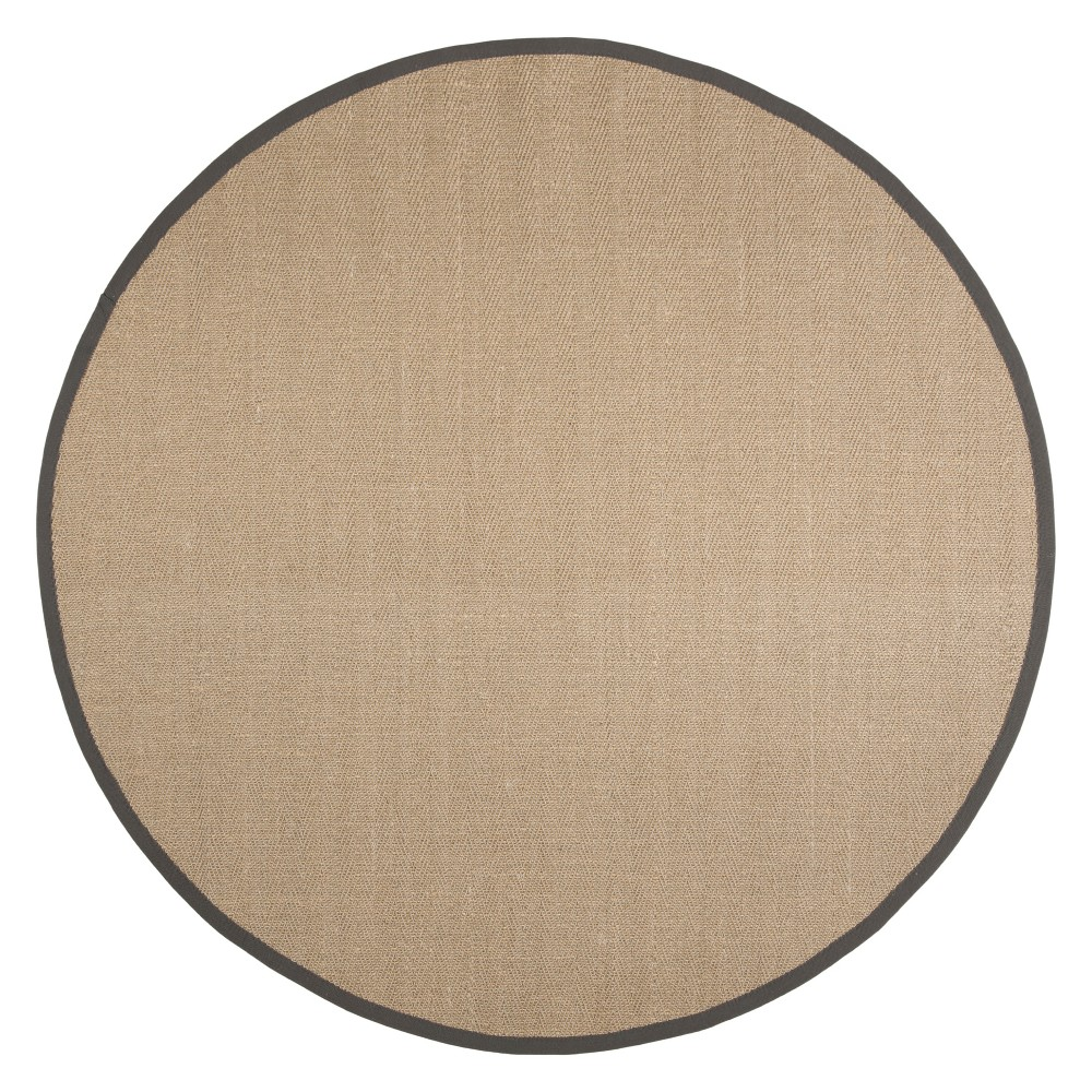6' Solid Loomed Round Area Rug Natural/Gray - Safavieh, White