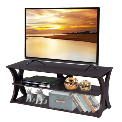 Costway 3 Tier Tv Stand Entertainment, Tv Stand Media Storage Cabinet