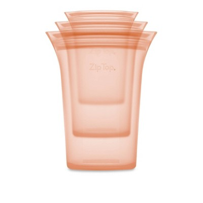 Zip Top Reusable 100% Platinum Silicone Container - 3 Cup Set (S/M/L)- Peach