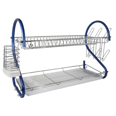 Better Chef 22-Inch 2-Tier Chrome Plated Dishrack in Red